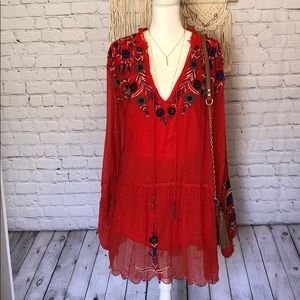 Stunning Free People Embroidered Red tunic dress